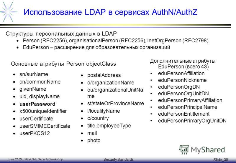 June 21-24, 2004 Silk Security Workshop Security standards Slide_35 Использование LDAP в сервисах AuthN/AuthZ Структуры персональных данных в LDAP Person (RFC2256), organisationalPerson (RFC2256), InetOrgPerson (RFC2798) EduPerson – расширение для об