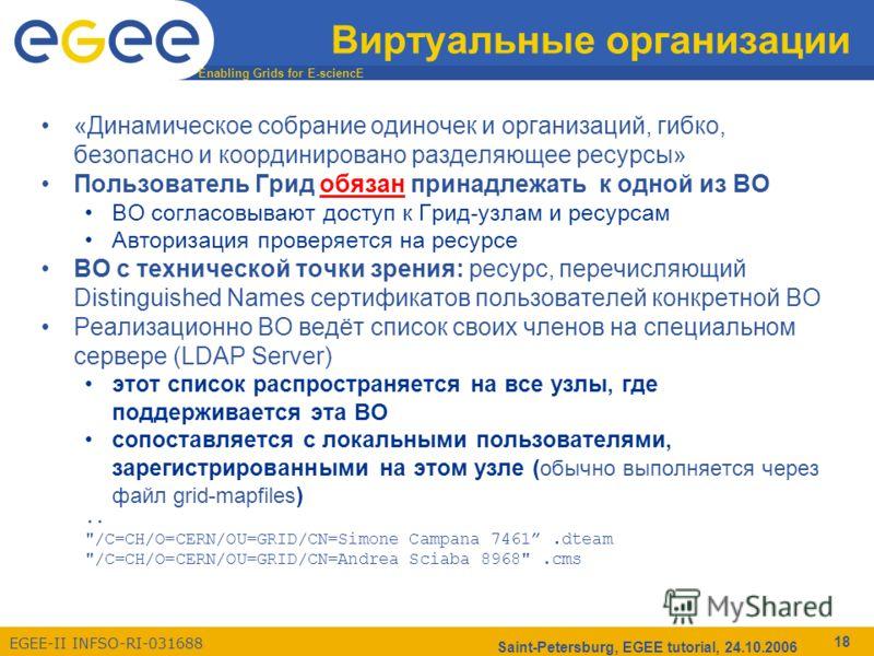 Enabling Grids for E-sciencE EGEE-II INFSO-RI-031688 Saint-Petersburg, EGEE tutorial, 24.10.2006 18 Виртуальные организации «Динамическое собрание одиночек и организаций, гибко, безопасно и координировано разделяющее ресурсы» Пользователь Грид обязан