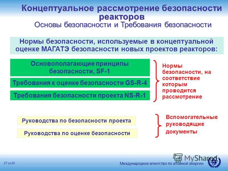Международное агентство по атомной энергии 27 из 20 Основополагающие принципы безопасности, SF-1 Требования к оценке безопасности GS-R-4 Руководства по безопасности проекта Руководства по оценке безопасности Вспомогательные руководящие документы Норм