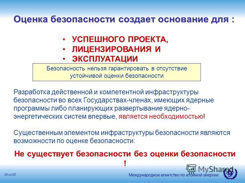 Международное агентство по атомной энергии 34 из 20 Оценка безопасности создает основание для : УСПЕШНОГО ПРОЕКТА, ЛИЦЕНЗИРОВАНИЯ И ЭКСПЛУАТАЦИИ Разработка действенной и компетентной инфраструктуры безопасности во всех Государствах-членах, имеющих яд