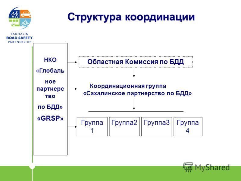 Структура координации Областная Комиссия по БДД Группа 1 Группа2Группа3Группа 4 НКО «Глобаль ное партнерс тво по БДД» «GRSP» Координационная группа «Сахалинское партнерство по БДД»
