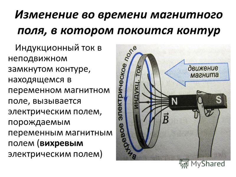 Изменение во времени магнитного поля, в котором покоится контур Индукционный ток в неподвижном замкнутом контуре, находящемся в переменном магнитном поле, вызывается электрическим полем, порождаемым переменным магнитным полем (вихревым электрическим