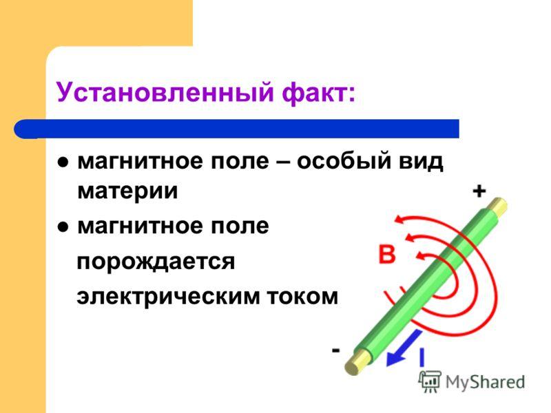 Установленный факт: магнитное поле – особый вид материи магнитное поле порождается электрическим током