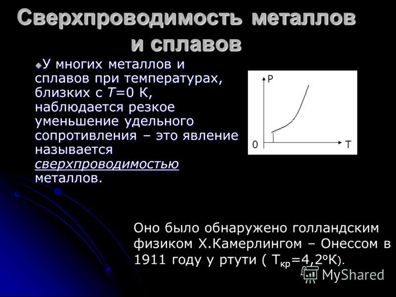 Сверхпроводимость металлов и сплавов У многих металлов и сплавов при температурах, близких с T=0 К, наблюдается резкое уменьшение удельного сопротивления – это явление называется сверхпроводимостью металлов. У многих металлов и сплавов при температур