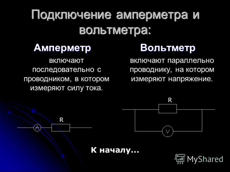 Подключение амперметра и вольтметра: Амперметр включают последовательно с проводником, в котором измеряют силу тока.Вольтметр включают параллельно проводнику, на котором измеряют напряжение. R R К началу...