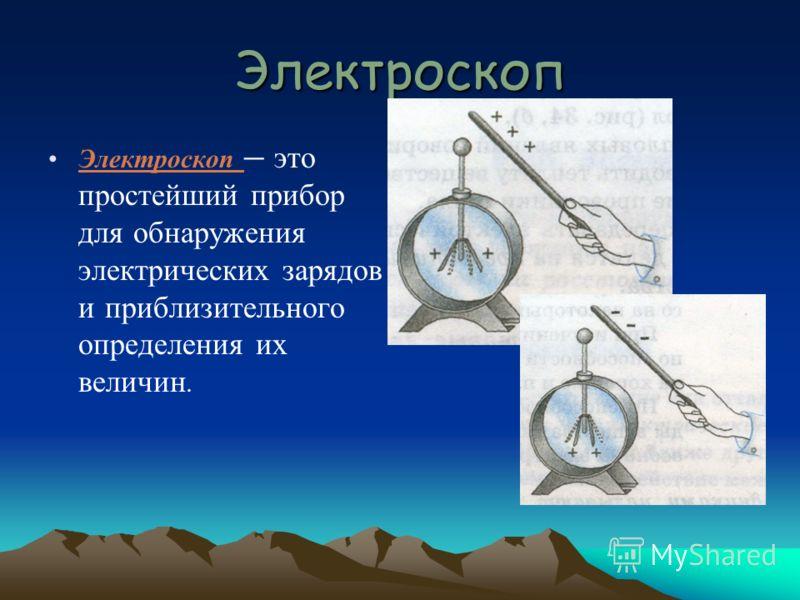 Электроскоп Электроскоп это простейший прибор для обнаружения электрических зарядов и приблизительного определения их величин.