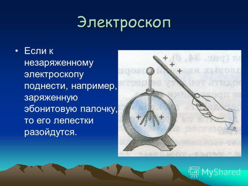 Электроскоп Если к незаряженному электроскопу поднести, например, заряженную эбонитовую палочку, то его лепестки разойдутся.