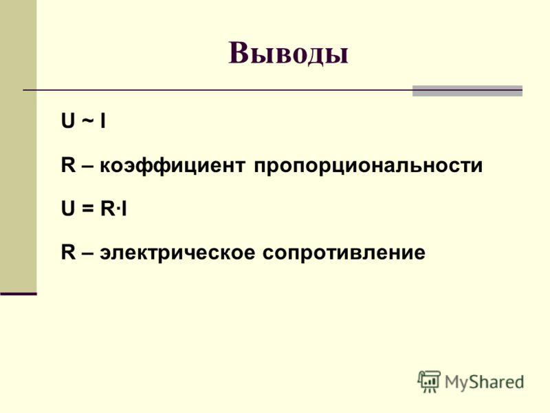 Выводы U ~ I R – коэффициент пропорциональности U = R·I R – электрическое сопротивление