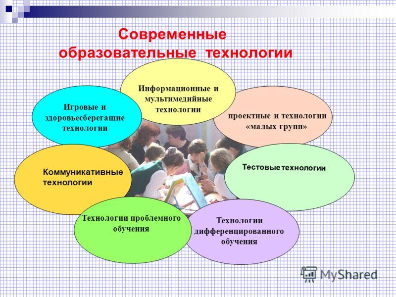 Современные образовательные технологии проектные и технологии «малых групп» Информационные и мультимедийные технологии Игровые и здоровьесберегащие технологии Технологии дифференцированного обучения Технологии проблемного обучения Коммуникативные тех