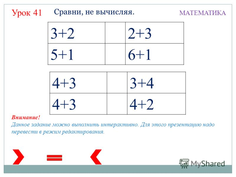3+22+3 5+16+1 4+33+4 4+34+2 Сравни, не вычисляя. МАТЕМАТИКА Внимание! Данное задание можно выполнить интерактивно. Для этого презентацию надо перевести в режим редактирования. Урок 41
