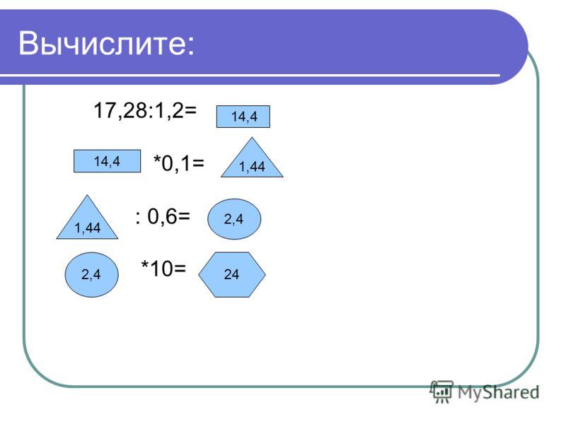 Вычислите: 17,28:1,2= *0,1= : 0,6= *10= 14,4 1,44 2,4 24 14,4