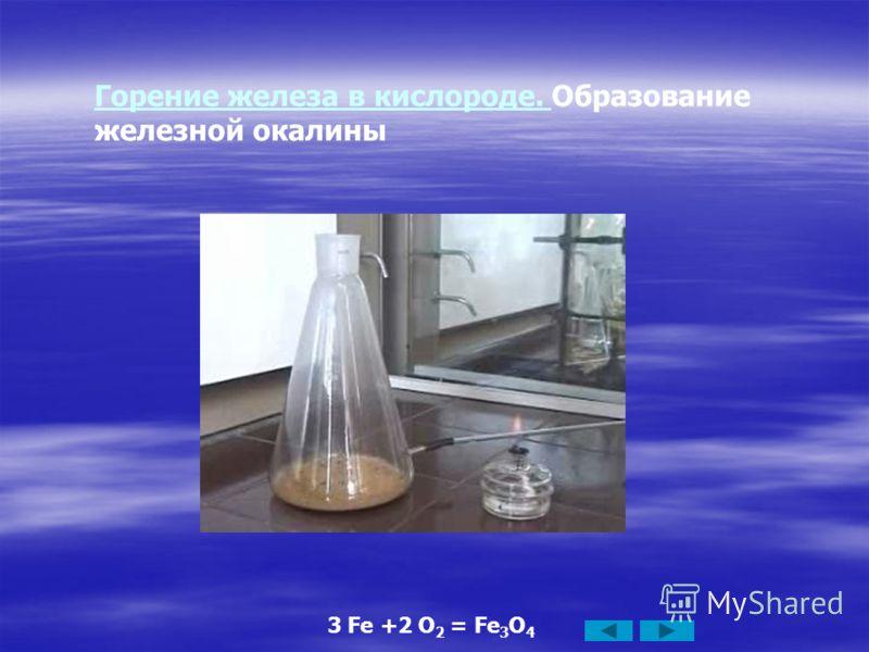 Горение железа в кислороде. Горение железа в кислороде. Образование железной окалины 3 Fe +2 O 2 = Fe 3 O 4