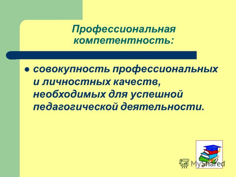 Профессиональная компетентность: совокупность профессиональных и личностных качеств, необходимых для успешной педагогической деятельности.