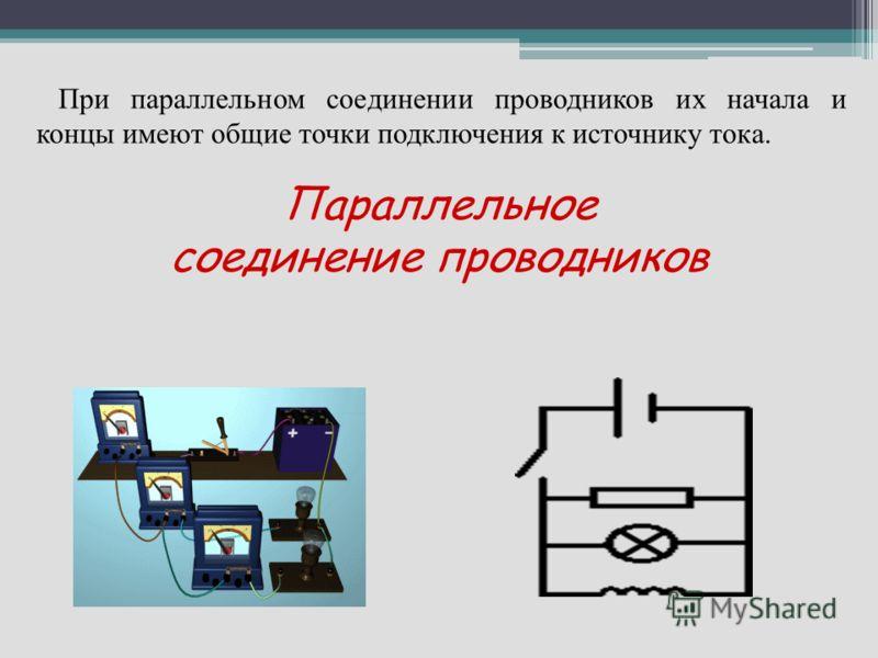 Параллельное соединение проводников При параллельном соединении проводников их начала и концы имеют общие точки подключения к источнику тока.