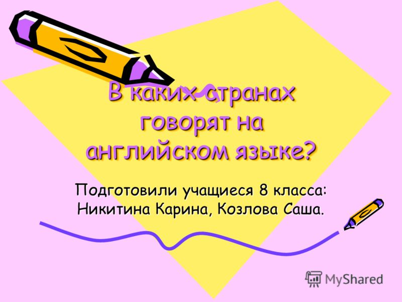 В каких странах говорят на английском языке? Подготовили учащиеся 8 класса: Никитина Карина, Козлова Саша.