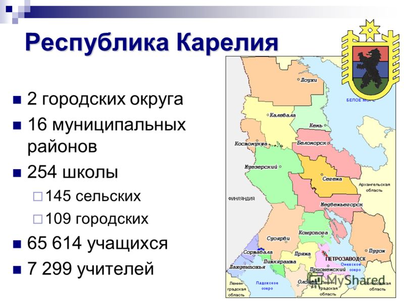 Республика Карелия 2 городских округа 16 муниципальных районов 254 школы 145 сельских 109 городских 65 614 учащихся 7 299 учителей