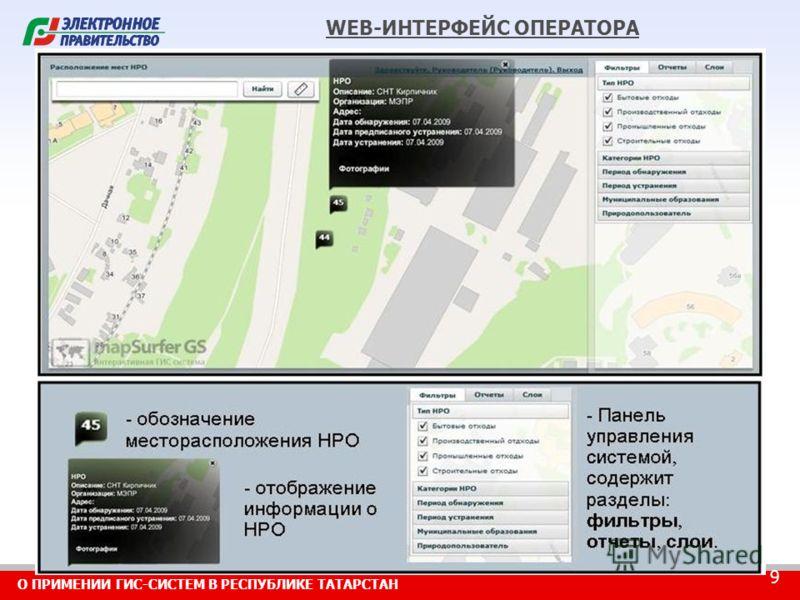 О ПРИМЕНИИ ГИС-СИСТЕМ В РЕСПУБЛИКЕ ТАТАРСТАН 9 WEB-ИНТЕРФЕЙС ОПЕРАТОРА