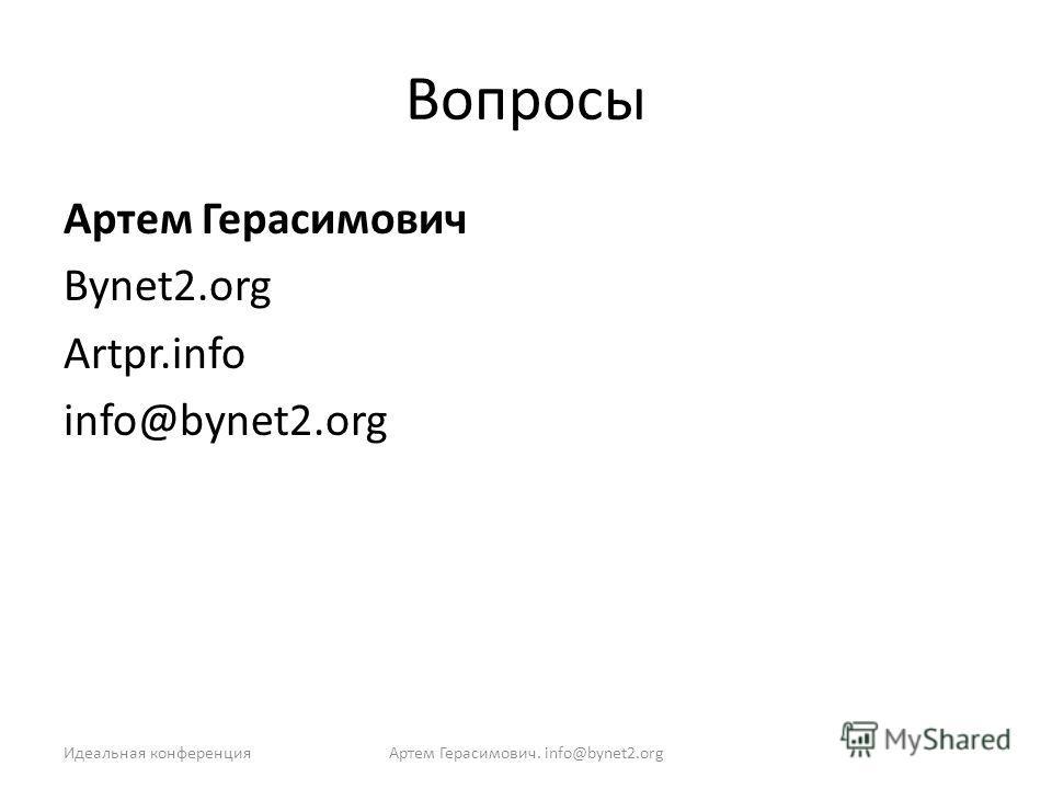 Вопросы Артем Герасимович Bynet2.org Artpr.info info@bynet2.org Идеальная конференцияАртем Герасимович. info@bynet2.org