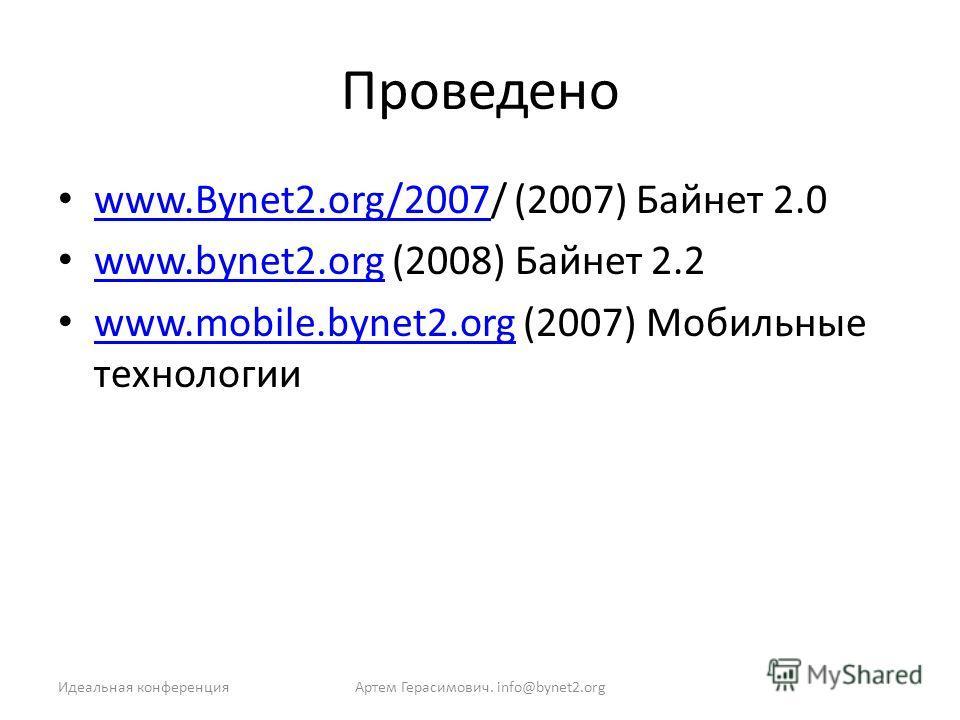Проведено www.Bynet2.org/2007/ (2007) Байнет 2.0 www.Bynet2.org/2007 www.bynet2.org (2008) Байнет 2.2 www.bynet2.org www.mobile.bynet2.org (2007) Мобильные технологии www.mobile.bynet2.org Артем Герасимович. info@bynet2.orgИдеальная конференция