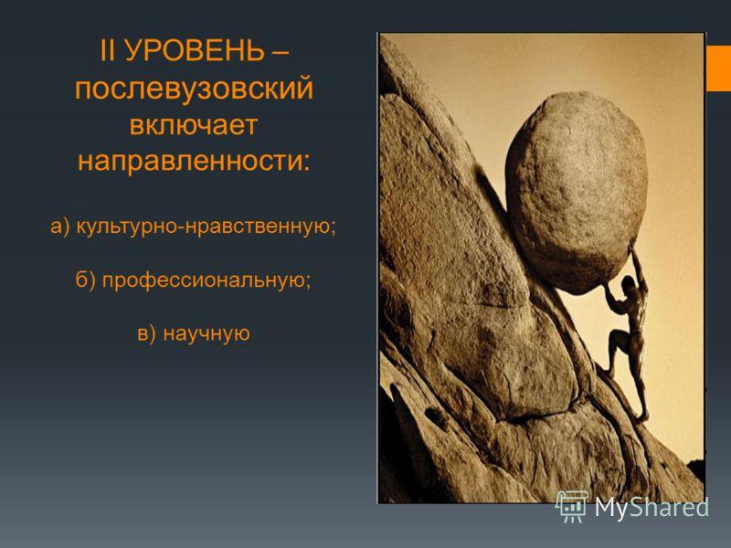 II УРОВЕНЬ – послевузовский включает направленности: а) культурно-нравственную; б) профессиональную; в) научную iiII