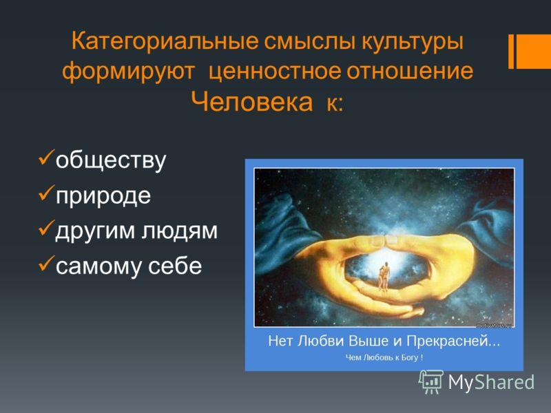 Категориальные смыслы культуры формируют ценностное отношение Человека к: обществу природе другим людям самому себе