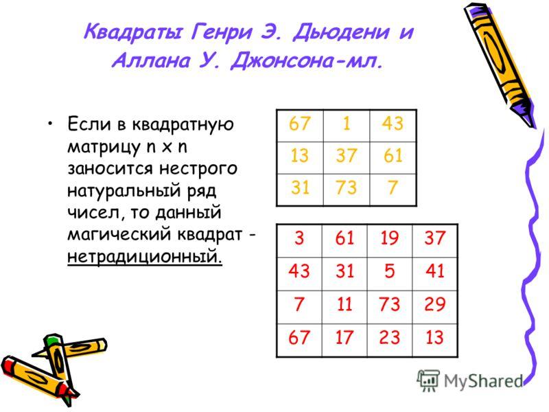 Квадраты Генри Э. Дьюдени и Аллана У. Джонсона-мл. Если в квадратную матрицу n х n заносится нестрого натуральный ряд чисел, то данный магический квадрат - нетрадиционный. 67143 133761 31737 3611937 4331541 7117329 67172313