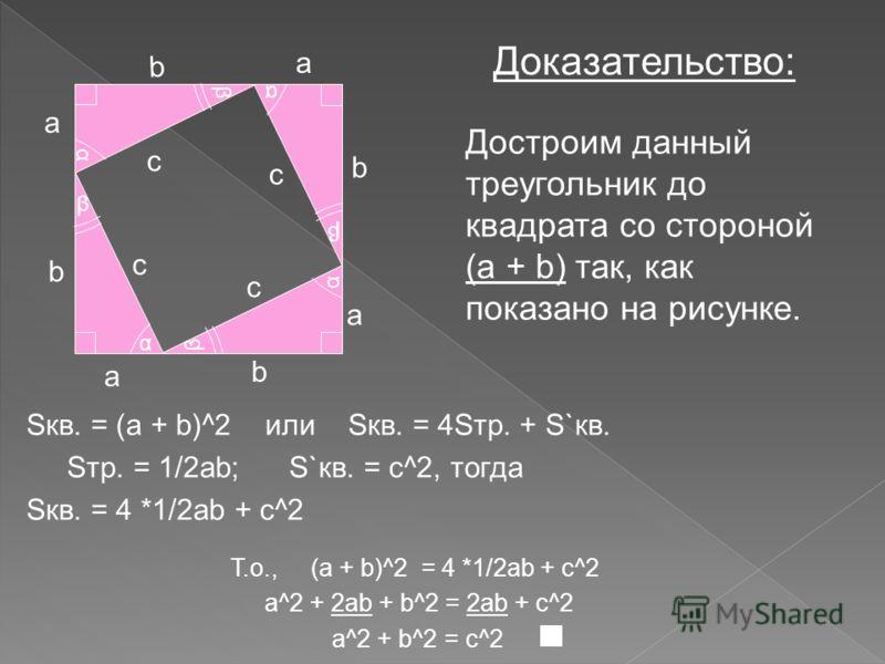 Теорема. a b c α β В прямоугольном треугольнике квадрат гипотенузы равен сумме квадратов катетов Дано: прямоугольный треугольник с катетами a, b и гипотенузой c. Док-ть: a^2 + b^2 = c^2a^2 + b^2 = c^2