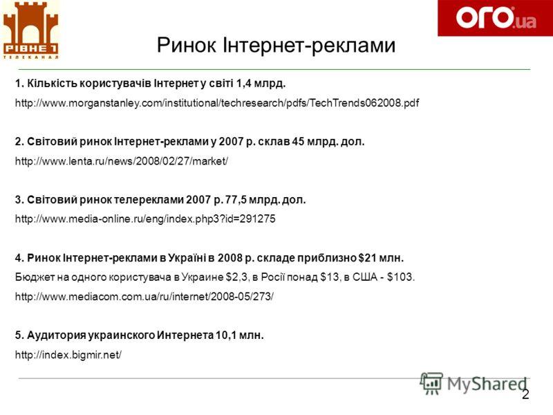 Ринок Інтернет-реклами 2 1. Кількість користувачів Інтернет у світі 1,4 млрд. http://www.morganstanley.com/institutional/techresearch/pdfs/TechTrends062008.pdf 2. Світовий ринок Інтернет-реклами у 2007 р. склав 45 млрд. дол. http://www.lenta.ru/news/