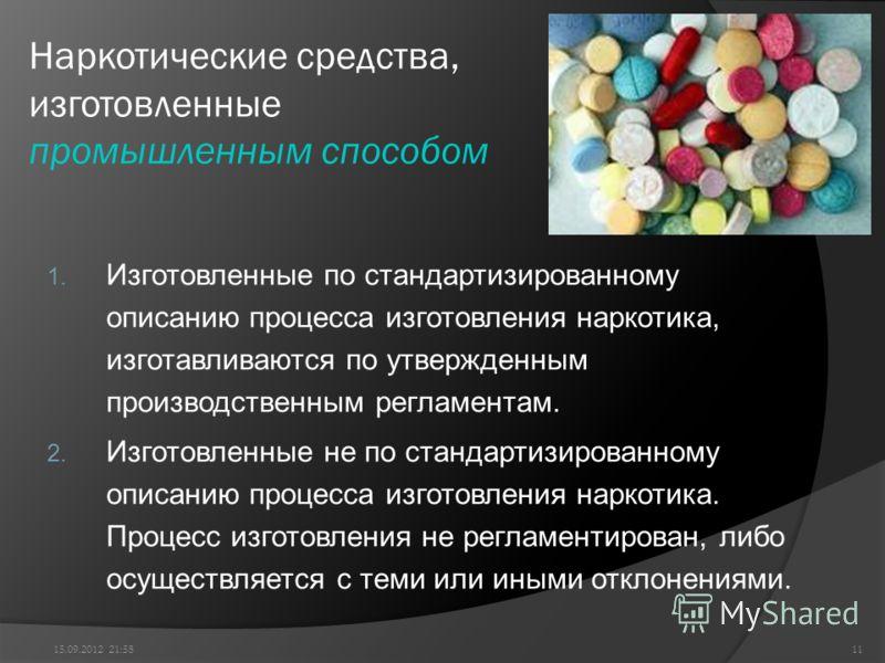 Наркотические средства, изготовленные промышленным способом 1. Изготовленные по стандартизированному описанию процесса изготовления наркотика, изготавливаются по утвержденным производственным регламентам. 2. Изготовленные не по стандартизированному о