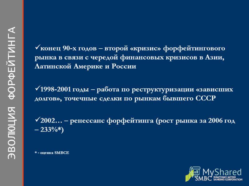 ЭВОЛЮЦИЯ ФОРФЕЙТИНГА 1998-2001 годы – работа по реструктуризации «зависших долгов», точечные сделки по рынкам бывшего СССР 2002… – ренессанс форфейтинга (рост рынка за 2006 год – 233%*) * - оценка SMBCE конец 90-х годов – второй «кризис» форфейтингов