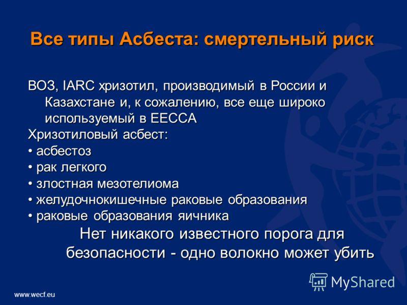 www.wecf.eu ВОЗ, IARC хризотил, производимый в России и Казахстане и, к сожалению, все еще широко используемый в EECCA Хризотиловый асбест: асбестоз асбестоз рак легкого рак легкого злостная мезотелиома злостная мезотелиома желудочнокишечные раковые