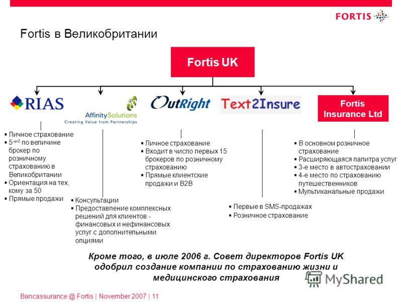 Bancassurance @ Fortis | November 2007 | 11 Fortis в Великобритании Личное страхование 5 -ый по величине брокер по розничному страхованию в Великобритании Ориентация на тех, кому за 50 Прямые продажи Fortis UK Личное страхование Входит в число первых
