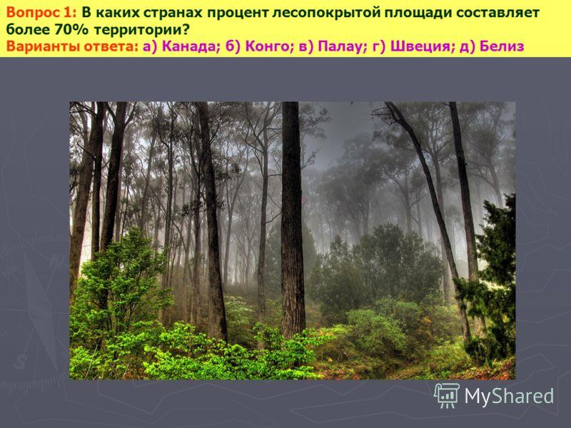 Вопрос 1: В каких странах процент лесопокрытой площади составляет более 70% территории? Варианты ответа: а) Канада; б) Конго; в) Палау; г) Швеция; д) Белиз