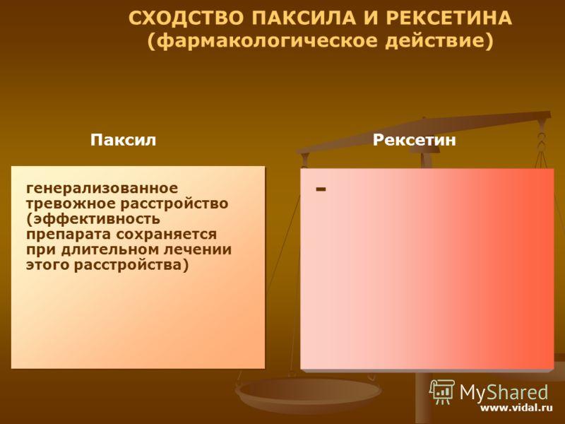 Паксил Рексетин СХОДСТВО ПАКСИЛА И РЕКСЕТИНА (фармакологическое действие) генерализованное тревожное расстройство (эффективность препарата сохраняется при длительном лечении этого расстройства) - www.vidal.ru