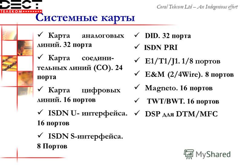 Карта аналоговых линий. 32 порта Карта соедини- тельных линий (СО). 24 порта Карта цифровых линий. 16 портов ISDN U-интерфейса. 16 портов ISDN S - интерфейса. 8 Портов Системные карты DID. 32 порта ISDN PRI E1/T1/J1. 1/8 портов E&M (2/4Wire). 8 порто