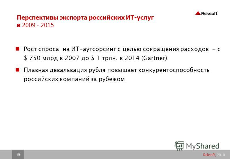 Reksoft, 201015 Перспективы экспорта российских ИТ-услуг в 2009 - 2015 Рост спроса на ИТ-аутсорсинг с целью сокращения расходов - с $ 750 млрд в 2007 до $ 1 трлн. в 2014 (Gartner) Плавная девальвация рубля повышает конкурентоспособность российских ко