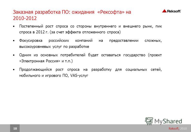 Reksoft, 201018 Заказная разработка ПО: ожидания «Рексофта» на 2010-2012 Постепенный рост спроса со стороны внутреннего и внешнего рынк, пик спроса в 2012 г. (за счет эффекта отложенного спроса) Фокусировка российских компаний на предоставлении сложн