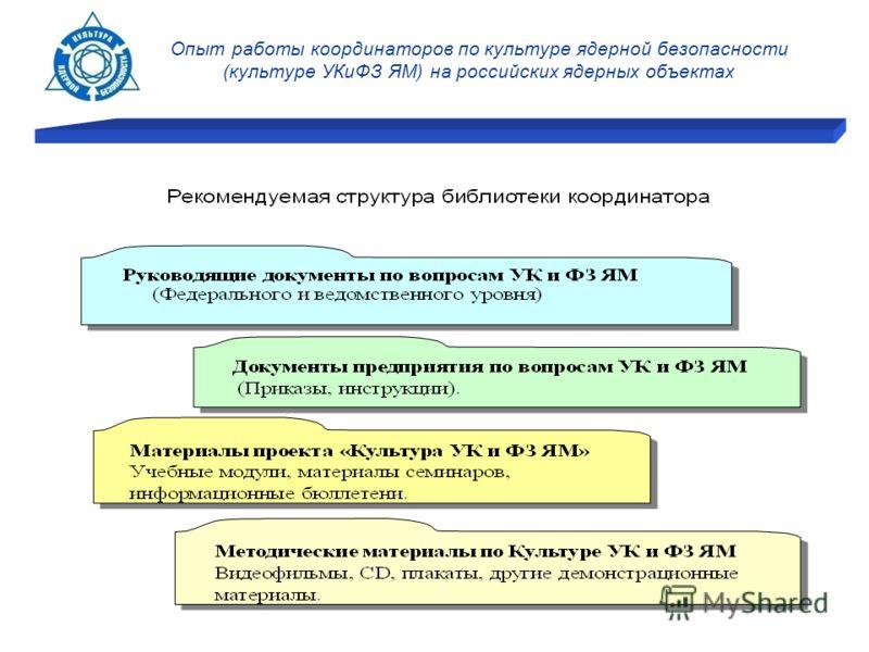 Опыт работы координаторов по культуре ядерной безопасности (культуре УКиФЗ ЯМ) на российских ядерных объектах