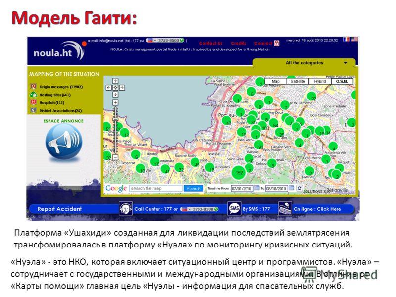 Платформа «Ушахиди» созданная для ликвидации последствий землятрясения трансфомировалась в платформу «Нуэла» по мониторингу кризисных ситуаций. «Нуэла» - это НКО, которая включает ситуационный центр и программистов. «Нуэла» – сотрудничает с государст