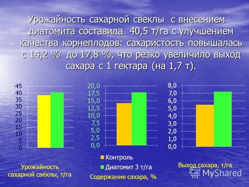 Урожайность сахарной свеклы с внесением диатомита составила 40,5 т/га с улучшением качества корнеплодов: сахаристость повышалась с 14,2 % до 17,8 %, что резко увеличило выход сахара с 1 гектара (на 1,7 т). Урожайность сахарной свёклы, т/га Содержание