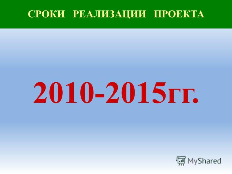 СРОКИ РЕАЛИЗАЦИИ ПРОЕКТА 2010-2015гг.