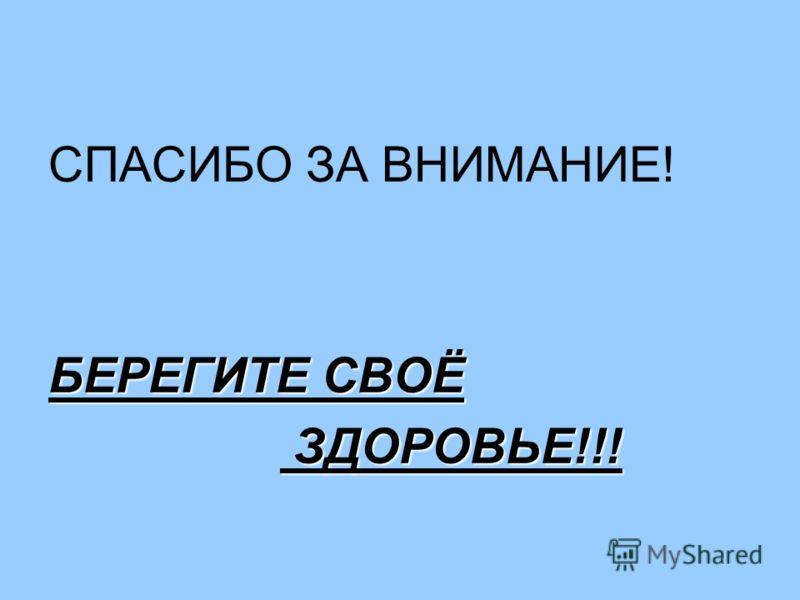 СПАСИБО ЗА ВНИМАНИЕ! БЕРЕГИТЕ СВОЁ ЗДОРОВЬЕ!!! ЗДОРОВЬЕ!!!