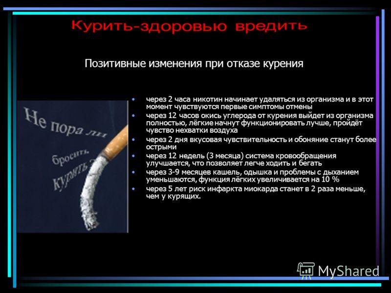 Позитивные изменения при отказе курения через 2 часа никотин начинает удаляться из организма и в этот момент чувствуются первые симптомы отмены через 12 часов окись углерода от курения выйдет из организма полностью, лёгкие начнут функционировать лучш