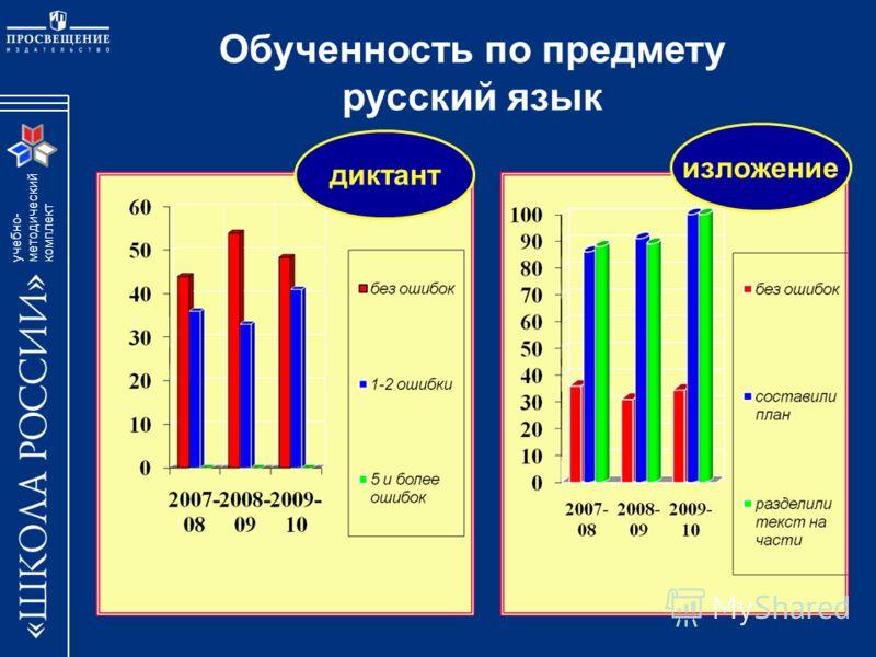 учебно- методический комплект Обученность по предмету русский язык диктант изложение