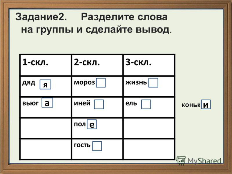 Задание2. Разделите слова на группы и сделайте вывод. 1-скл.2-скл.3-скл. дядморозжизнь вьюгинейель пол гость коньк я а е и