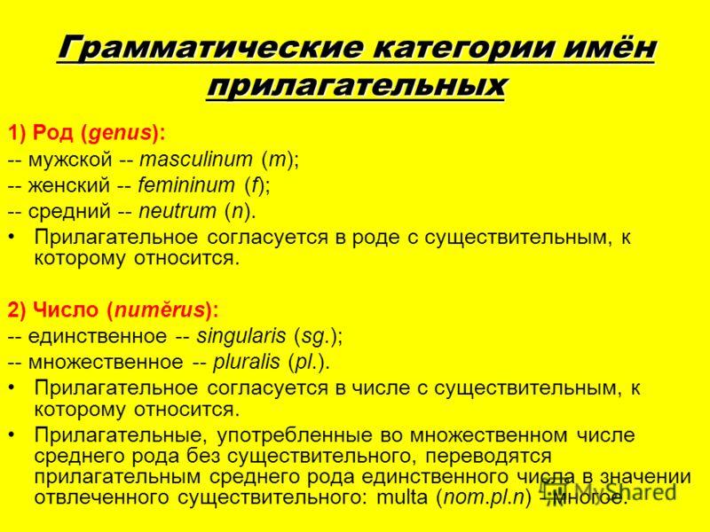 Грамматические категории имён прилагательных 1) Род (genus): -- мужской -- masculinum (m); -- женский -- femininum (f); -- средний -- neutrum (n). Прилагательное согласуется в роде с существительным, к которому относится. 2) Число (numĕrus): -- единс