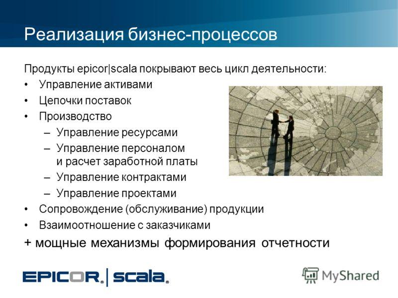 Реализация бизнес-процессов Продукты epicor|scala покрывают весь цикл деятельности: Управление активами Цепочки поставок Производство –Управление ресурсами –Управление персоналом и расчет заработной платы –Управление контрактами –Управление проектами