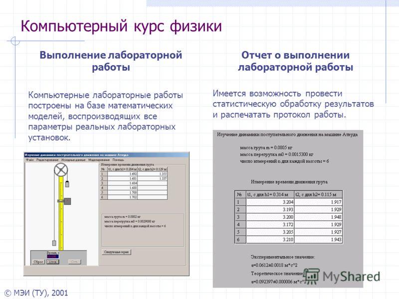 © МЭИ (ТУ), 2001 Компьютерный курс физики Выполнение лабораторной работы Компьютерные лабораторные работы построены на базе математических моделей, воспроизводящих все параметры реальных лабораторных установок. Отчет о выполнении лабораторной работы