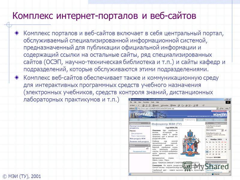 © МЭИ (ТУ), 2001 Комплекс интернет-порталов и веб-сайтов Комплекс порталов и веб-сайтов включает в себя центральный портал, обслуживаемый специализированной информационной системой, предназначенный для публикации официальной информации и содержащий с