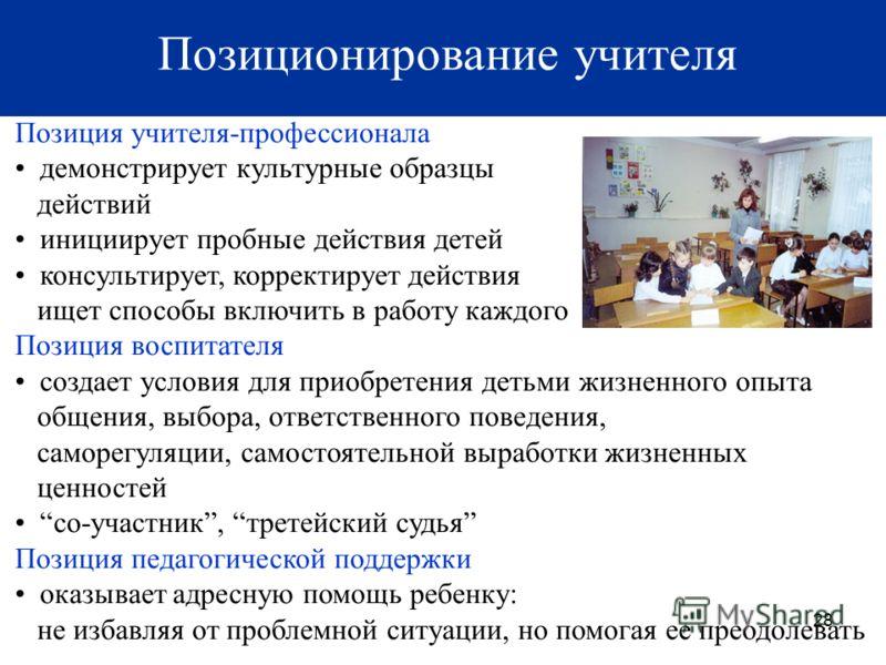 28 Позиция учителя-профессионала демонстрирует культурные образцы действий инициирует пробные действия детей консультирует, корректирует действия ищет способы включить в работу каждого Позиция воспитателя создает условия для приобретения детьми жизне